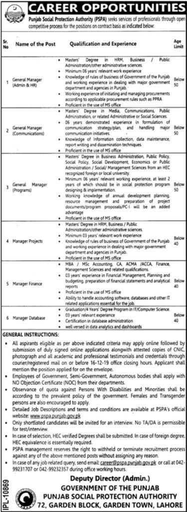 Punjab Social Protection Authority Jobs 2019