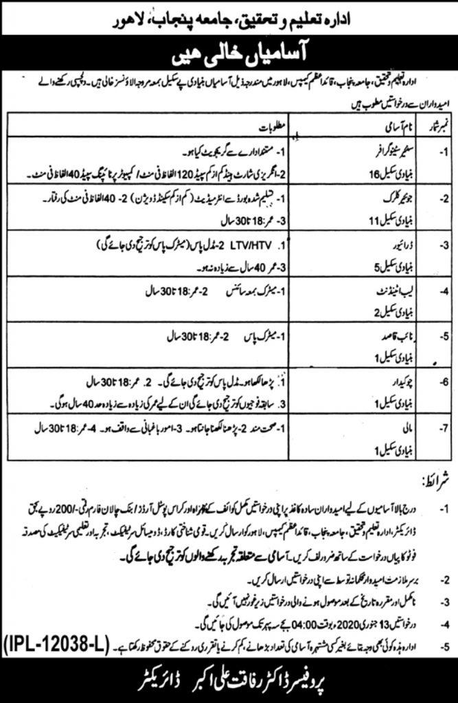 PU Lahore Jobs 2020