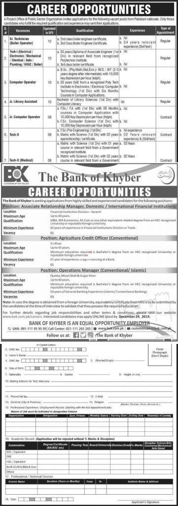 Bank of Khyber BOK Jobs 2020