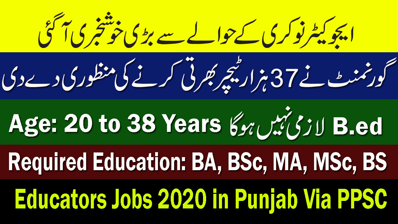 Educators Jobs 2020 in Punjab Via PPSC