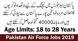 Join Pakistan Air Force December 2019