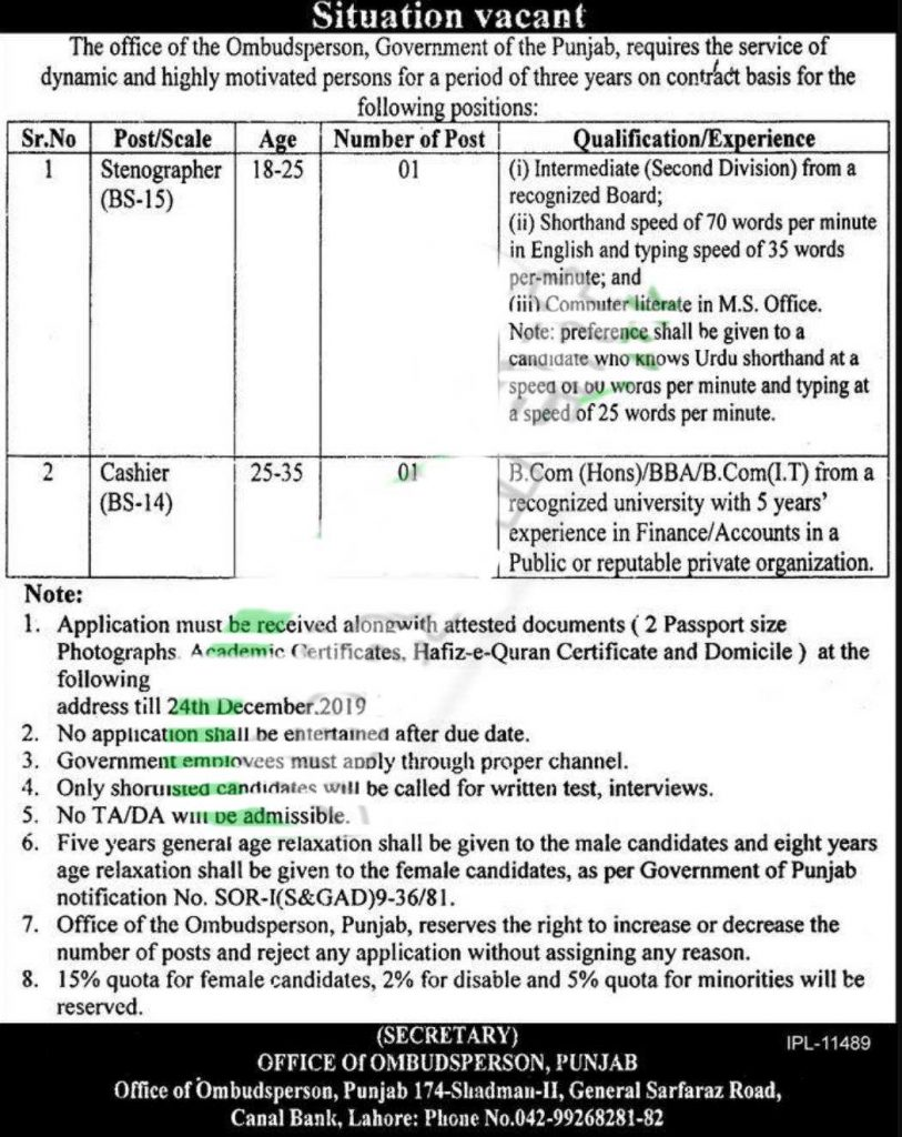 Provincial Ombudsman Secretariat Punjab Jobs 2020
