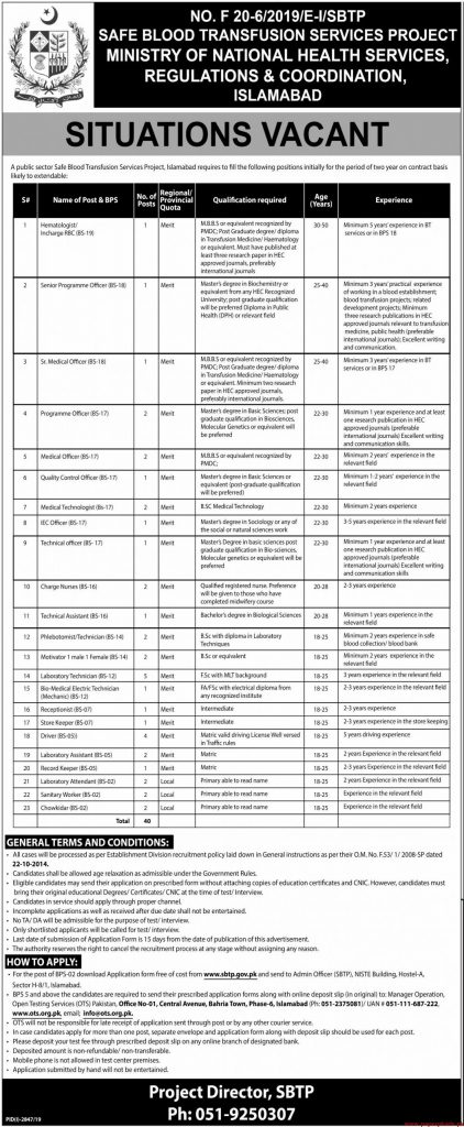 Ministry of National Health Services Jobs 2019
