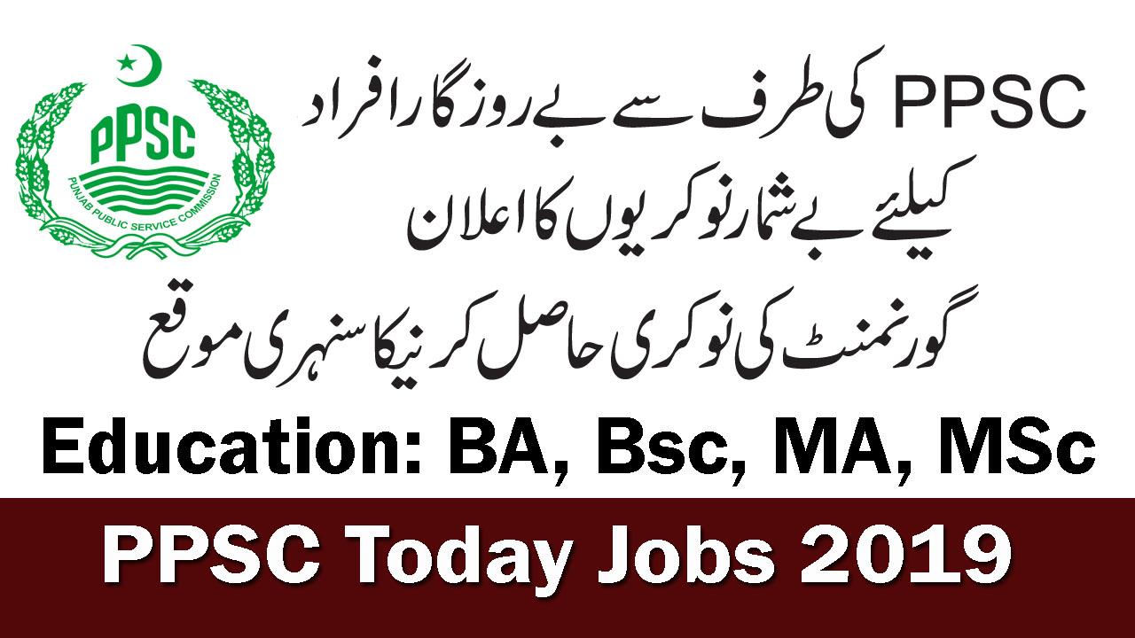 PPSC Today Jobs 2019