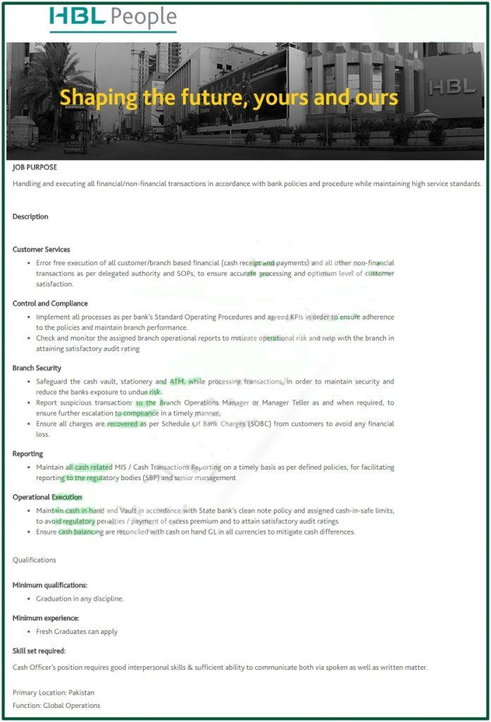 HBL Jobs 2020 For Cash Officer
