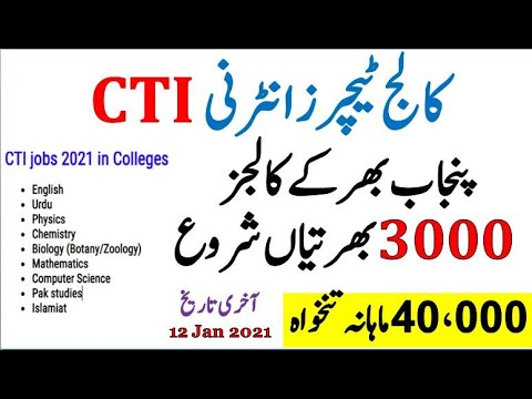 CTI jobs in Punjab 2021
