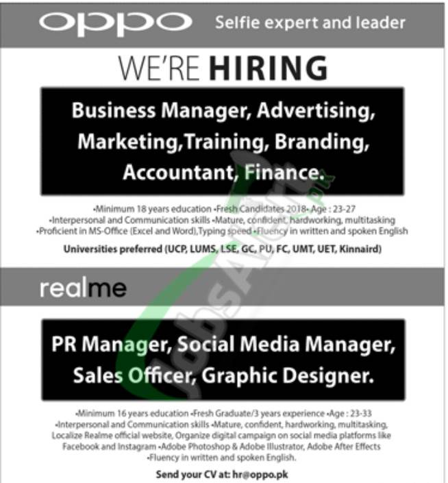 Oppo New Jobs 2020 for Managers & Sales Officer (Male & Female) both apply
