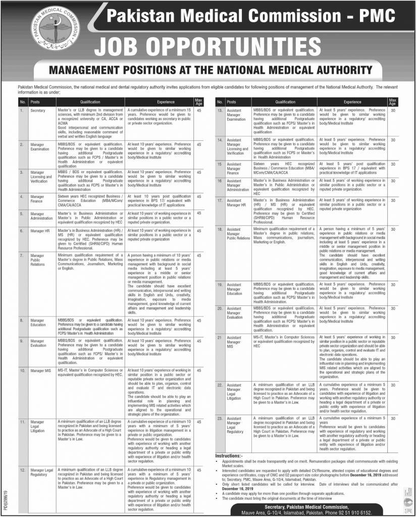 Pakistan Medical Commission Jobs 2019