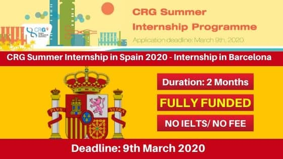 CRG Summer Internship in Spain 2020
