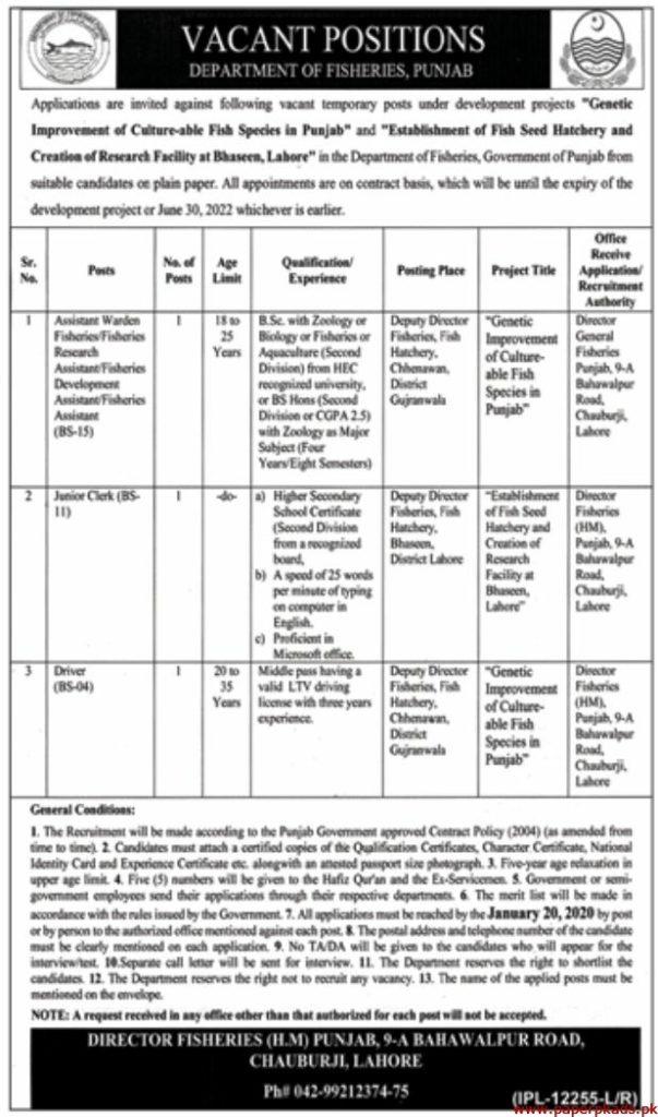 Fisheries Department Punjab 2020