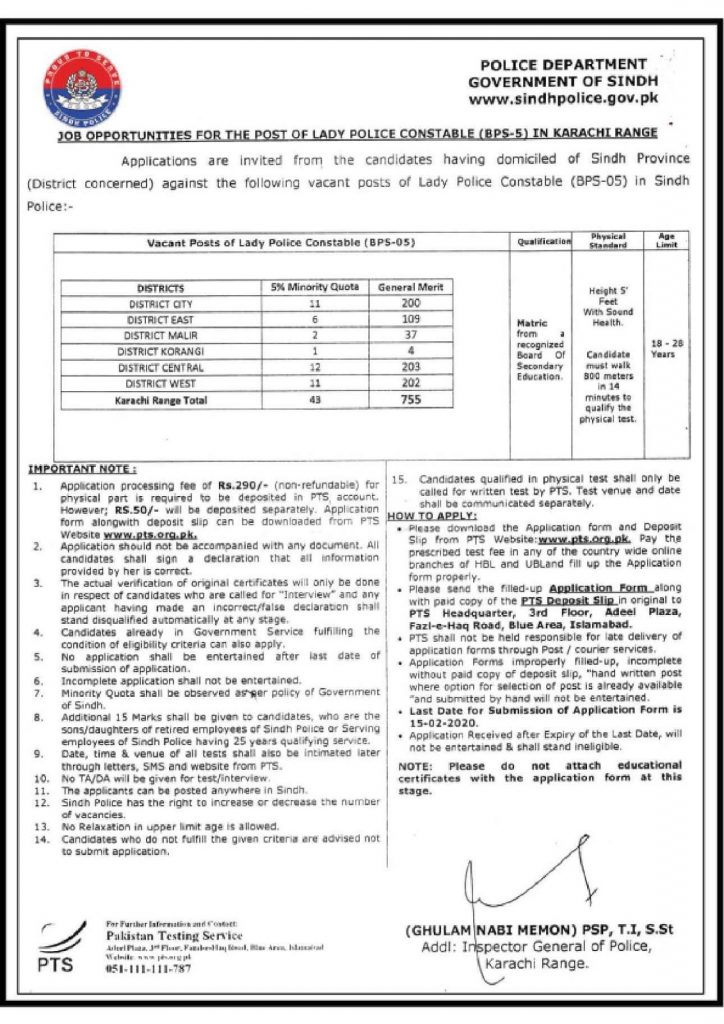 Sindh Police Jobs 2020 For Constable