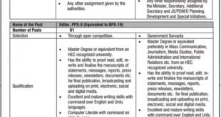 Planning Commission of Pakistan Jobs 2020