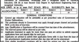 Directorate Agriculture Engineering KPK Jobs 2020