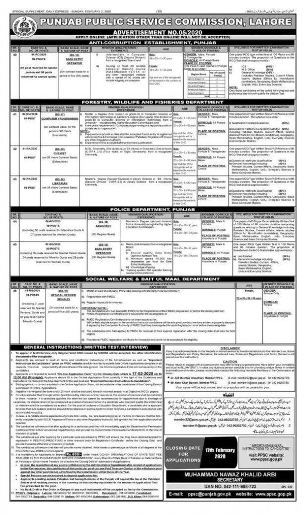 PPSC Jobs February 2020