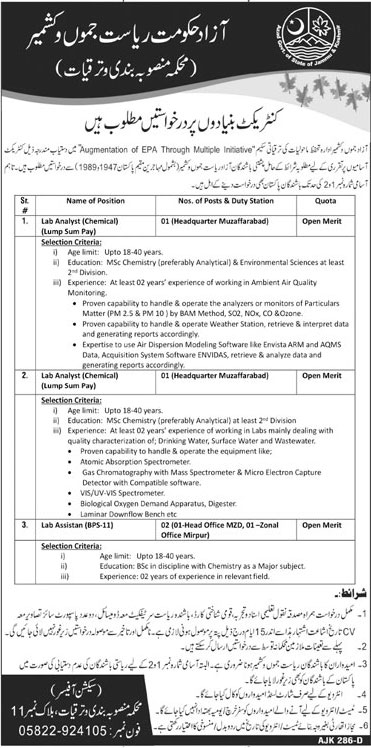 Planning and Development Department AJ&K Jobs 2020