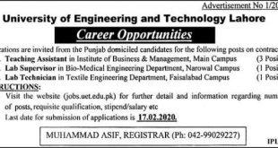 UET Lahore Jobs 2020
