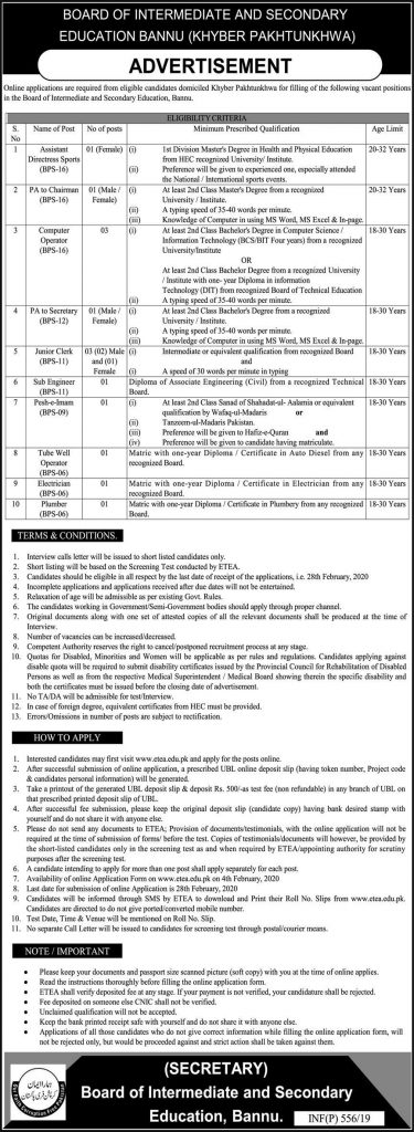 Board Of Intermediate And Secondary Education Jobs 2020
