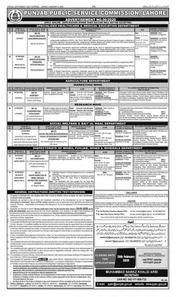 PPSC New Jobs February 2020