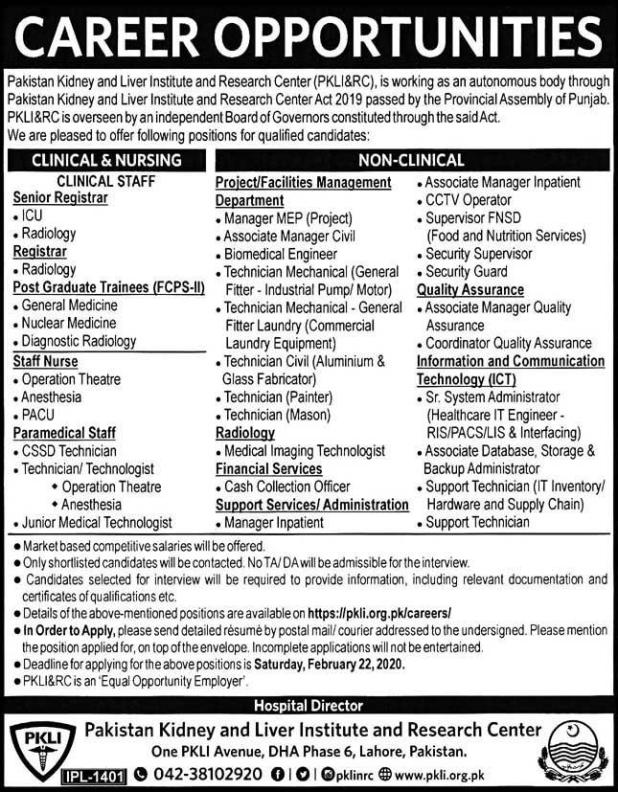 Pakistan Kidney & Liver Institute and Research Center Jobs 2020