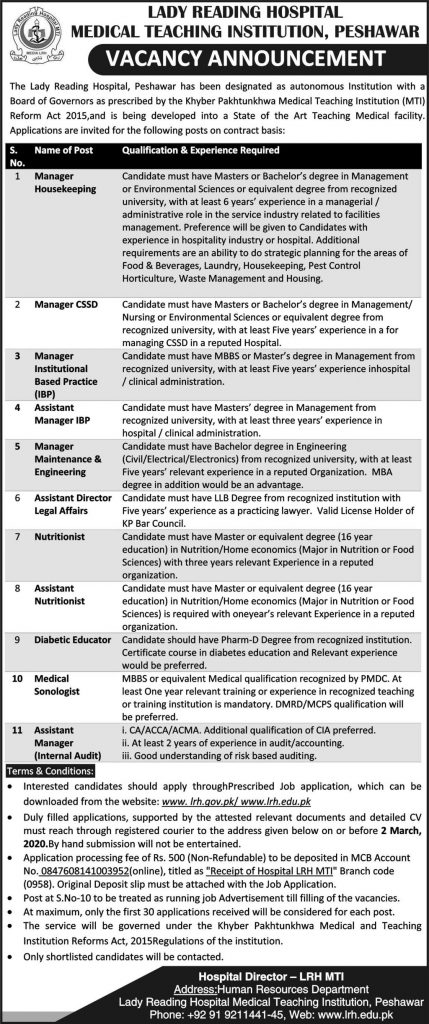 Lady Reading Hospital Medical Teaching Institute Jobs 2020