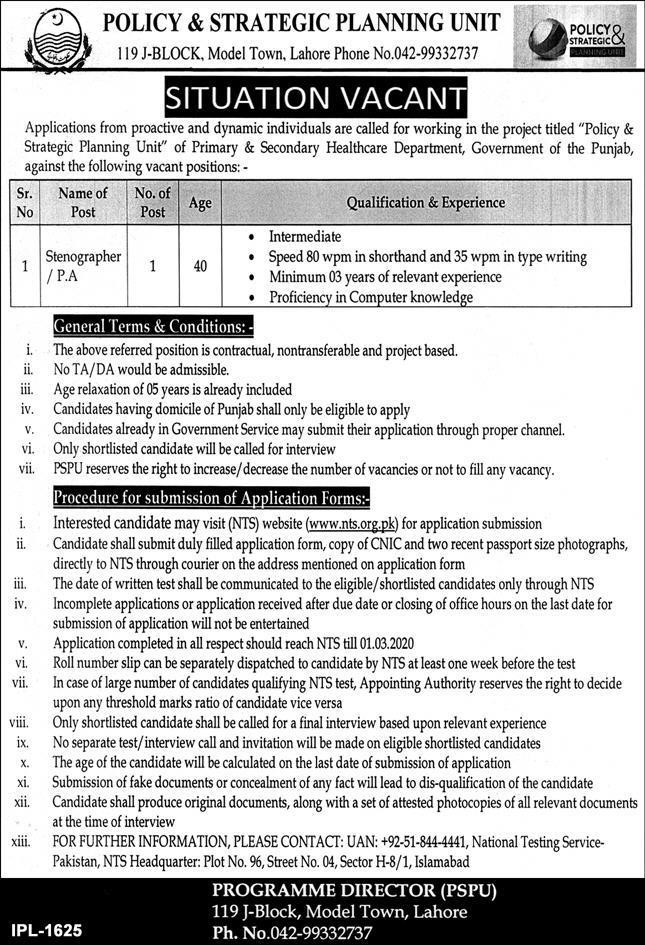 Policy & Strategic Planning Unit Jobs 2020