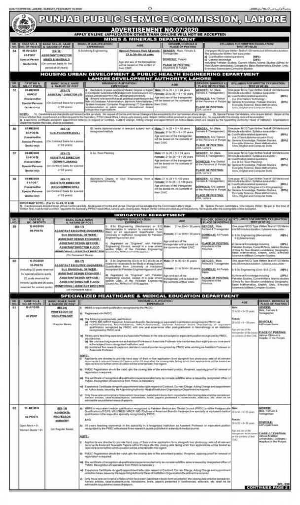 Punjab Public Service Commission PPSC Jobs 2020