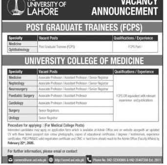 University Of Lahore UOL Jobs 2020