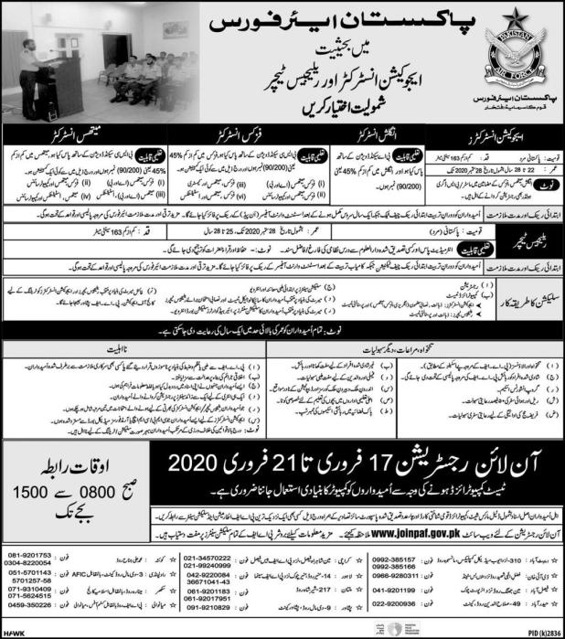 Pakistan Air Force (PAF) Jobs 2020