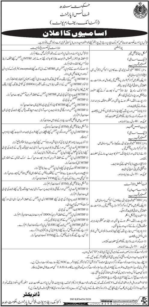 Finance Department Sindh Jobs 2020