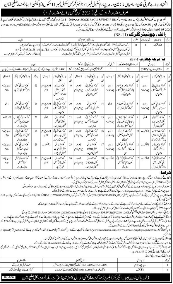 District Education Authority Multan Jobs 2020