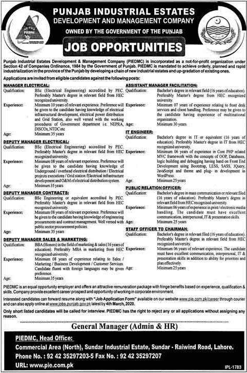Punjab Industrial Estate Development And Management Company Jobs 2020