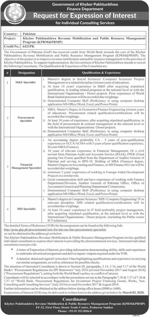 Finance Department KPK Jobs 2020