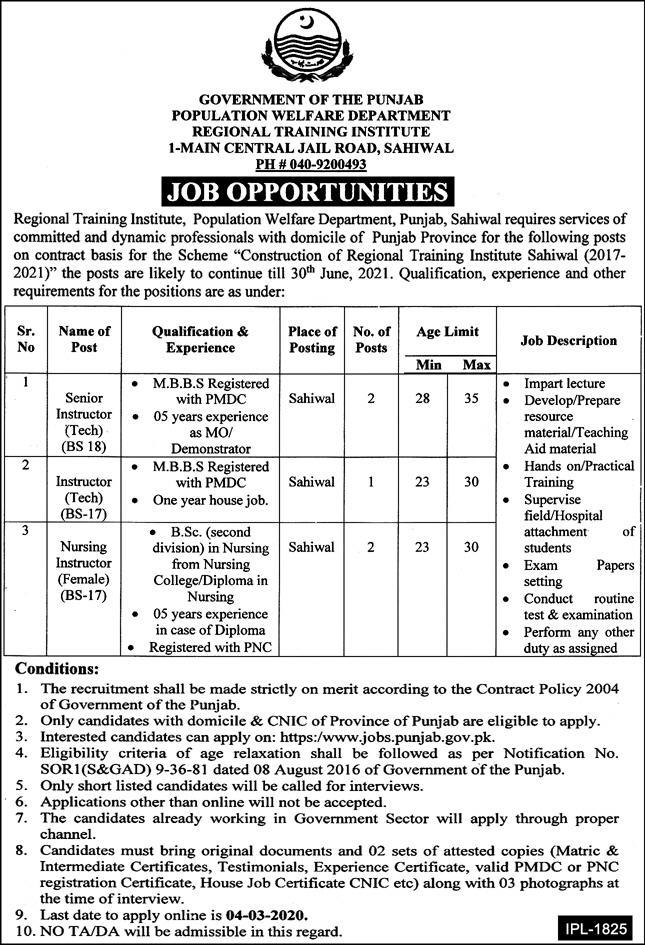 Population Welfare Department Punjab Jobs 2020
