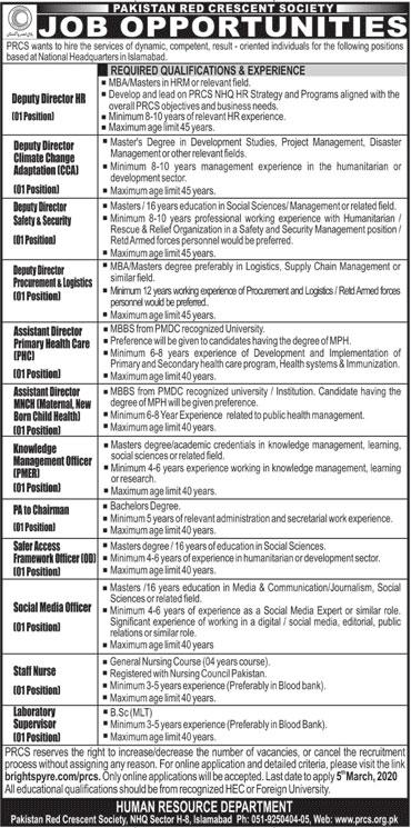 PRCS Islamabad Jobs 2020