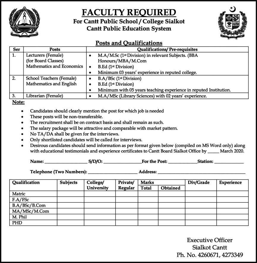Cantt Public High School & College Sialkot Jobs 2020