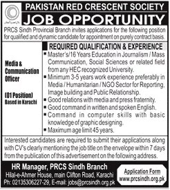 Pakistan Red Crescent Society PRCS Jobs 2020