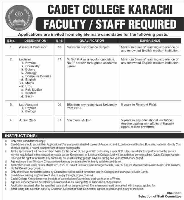 Cadet College Gaddap Karachi Jobs 2020