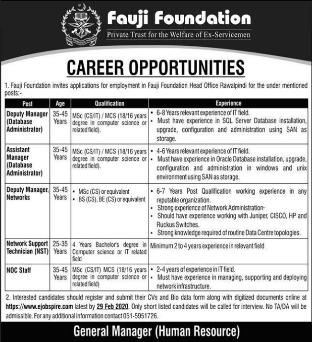 Fauji Foundation Head Office Rawalpindi Jobs 2020