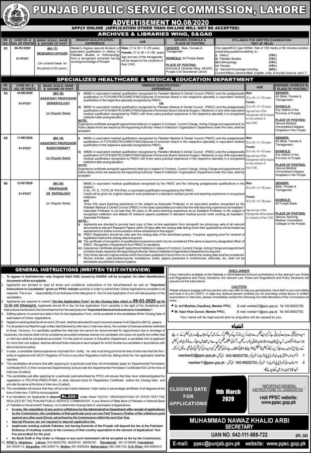 PPSC Latest Jobs 2020