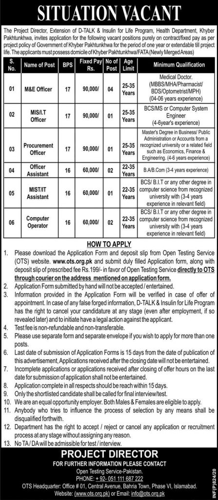 Health Department KPK Jobs 2020
