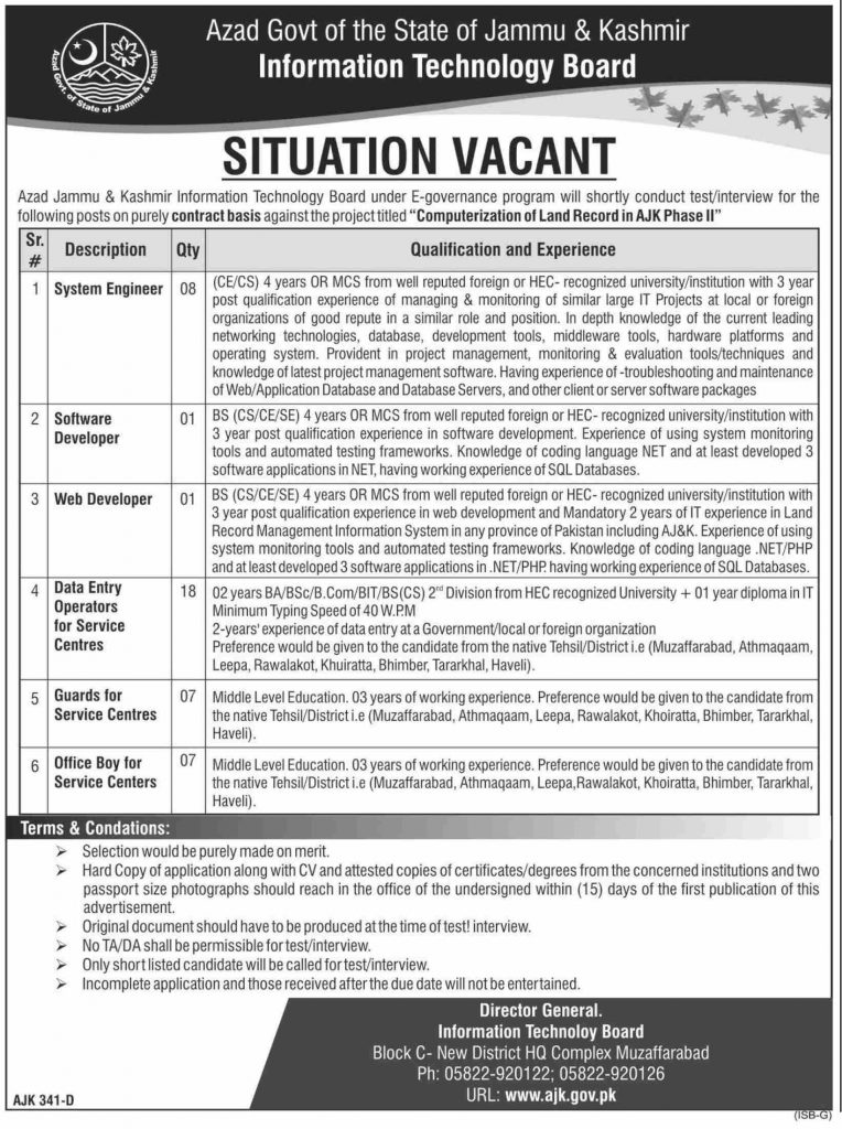 Information Technology Board Azad Jammu Kashmir Jobs 2020