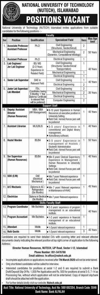 NUTECH new Jobs 2020 For Asssociate Professor, Assistant Professor - National University Of Technology jobs 2020