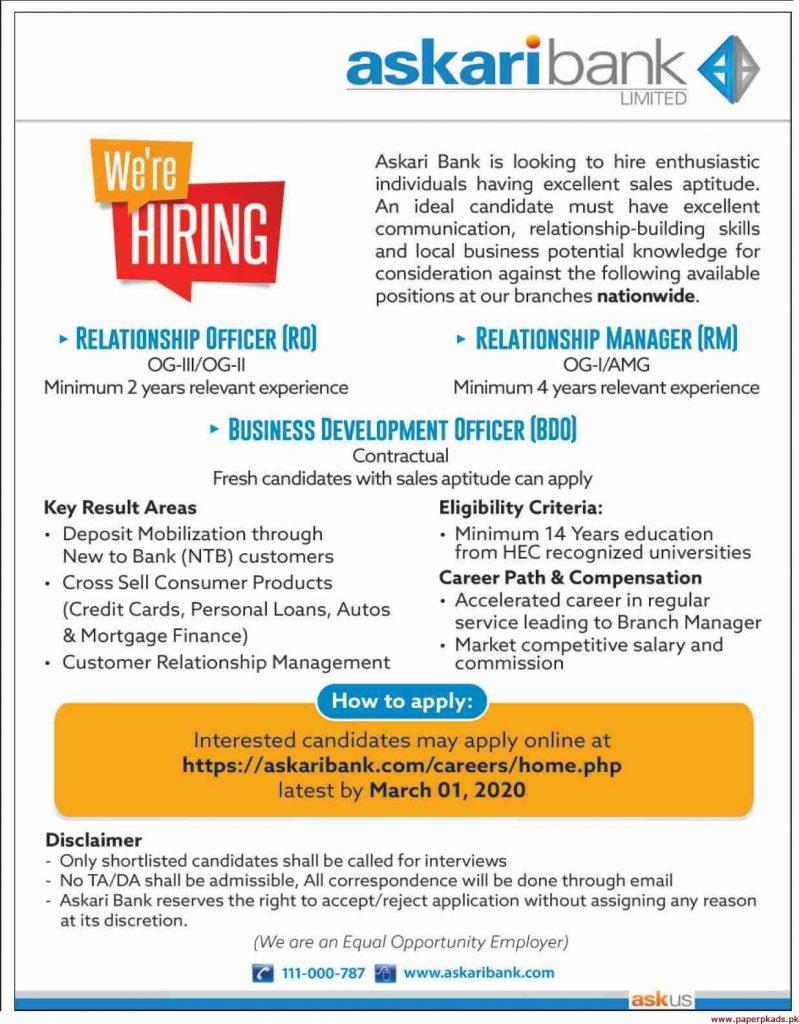 Askari Bank Limited Jobs 2020
