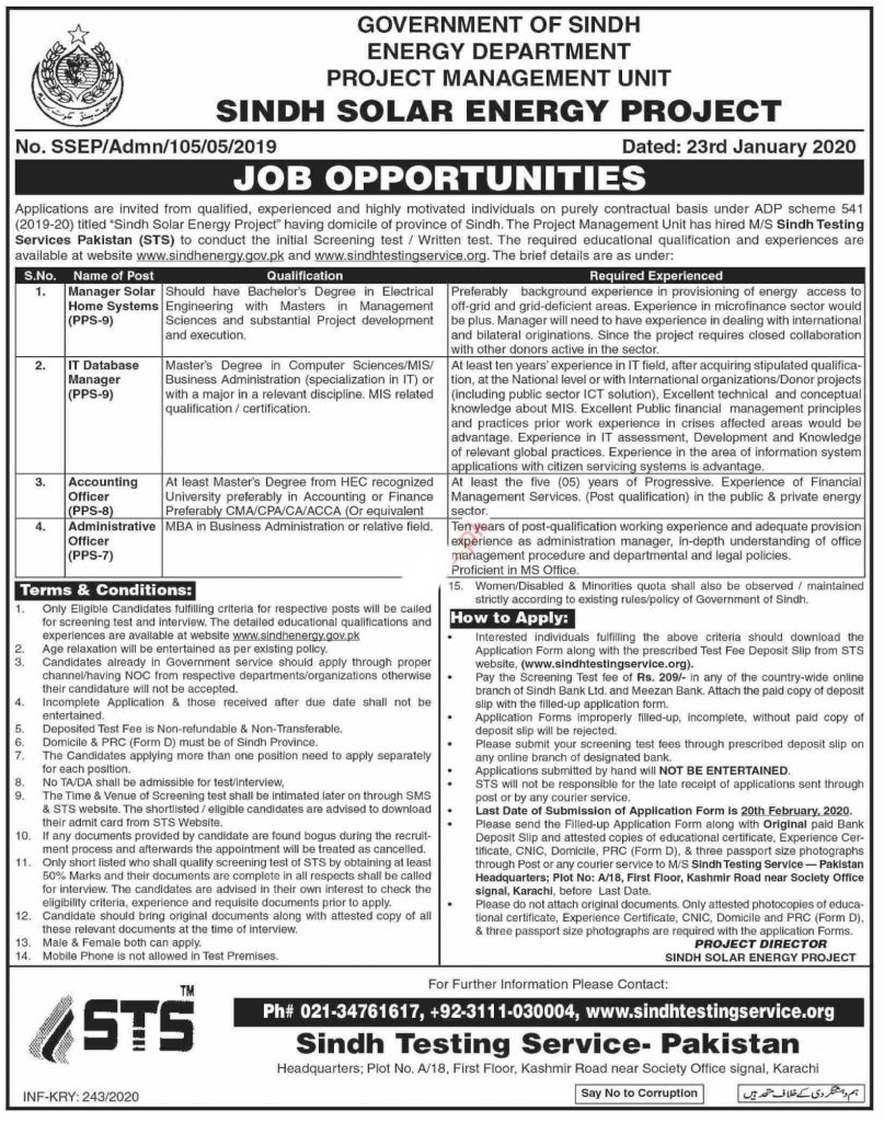 Energy Department Sindh Solar Energy Project Jobs 2020