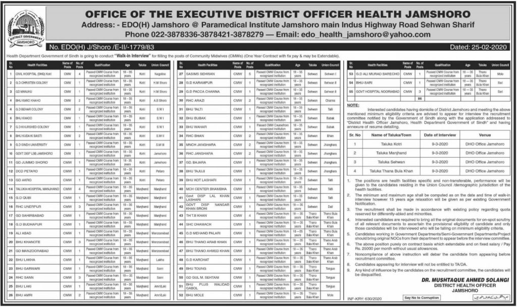 Health Department Sindh New Jobs 2020 For District Health ...