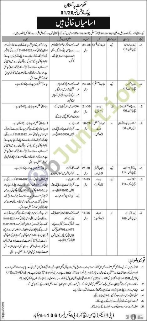 PO Box 1061 Islamabad Jobs 2020 for Stenotypist, Clerks, Assistant Private Secretaries, Editor, Research Officers