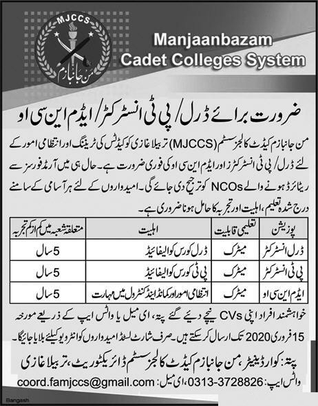 Cadet College Manjanbazam Jobs 2020