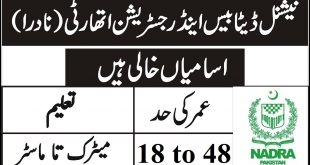 NADRA Jobs in Karachi 2020