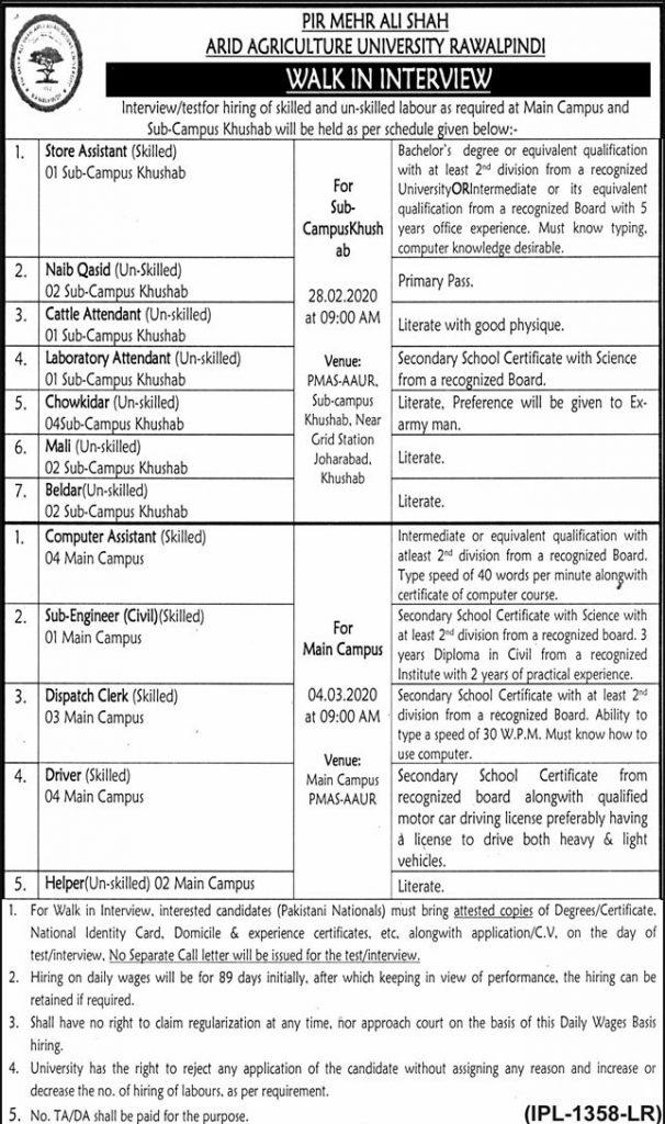 Pir Mahar Ali Shah Arid Agriculture University Rawalpindi Jobs 2020