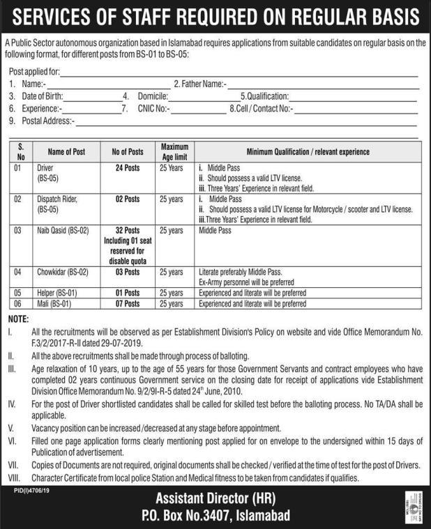 PO Box 3407 Islamabad Jobs 2020